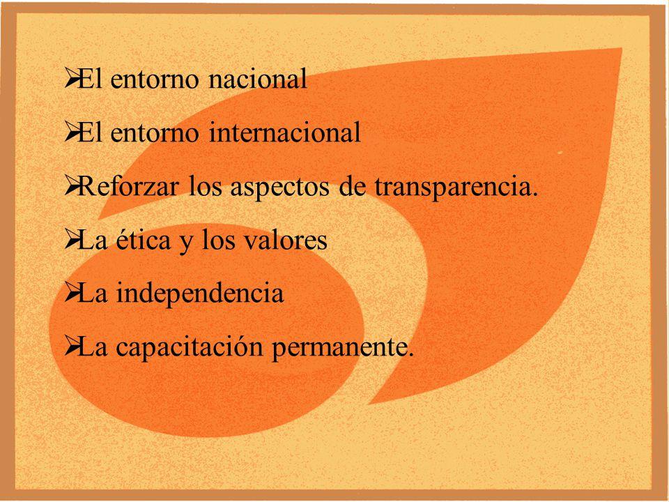 El entorno nacional El entorno internacional Reforzar los aspectos de transparencia.