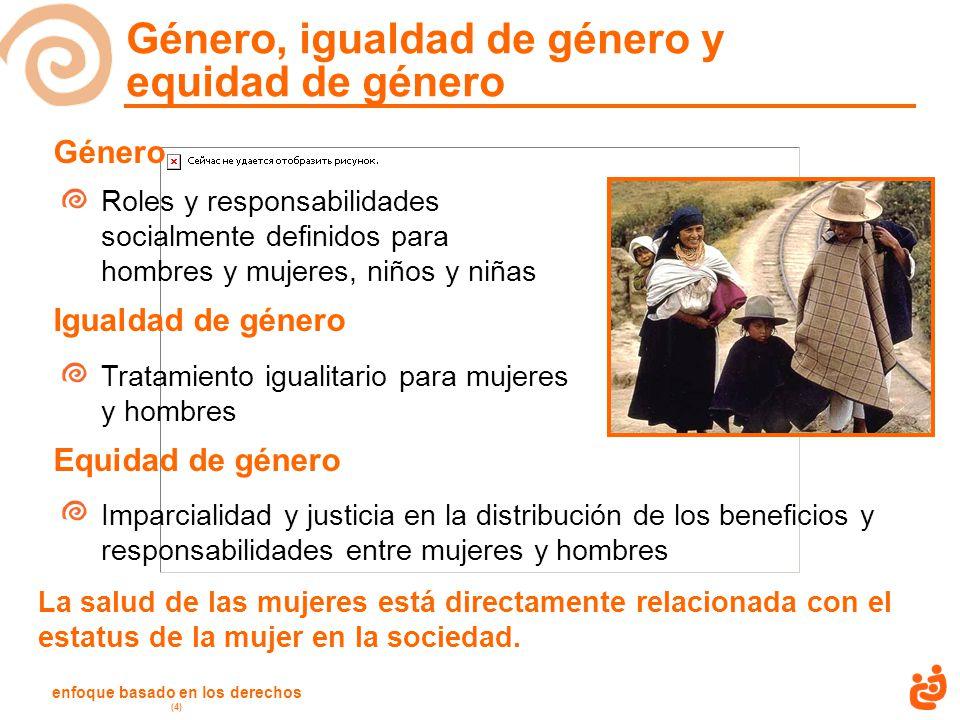 enfoque basado en los derechos (4) Género, igualdad de género y equidad de género Género Roles y responsabilidades socialmente definidos para hombres