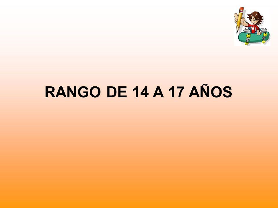 RANGO DE 14 A 17 AÑOS