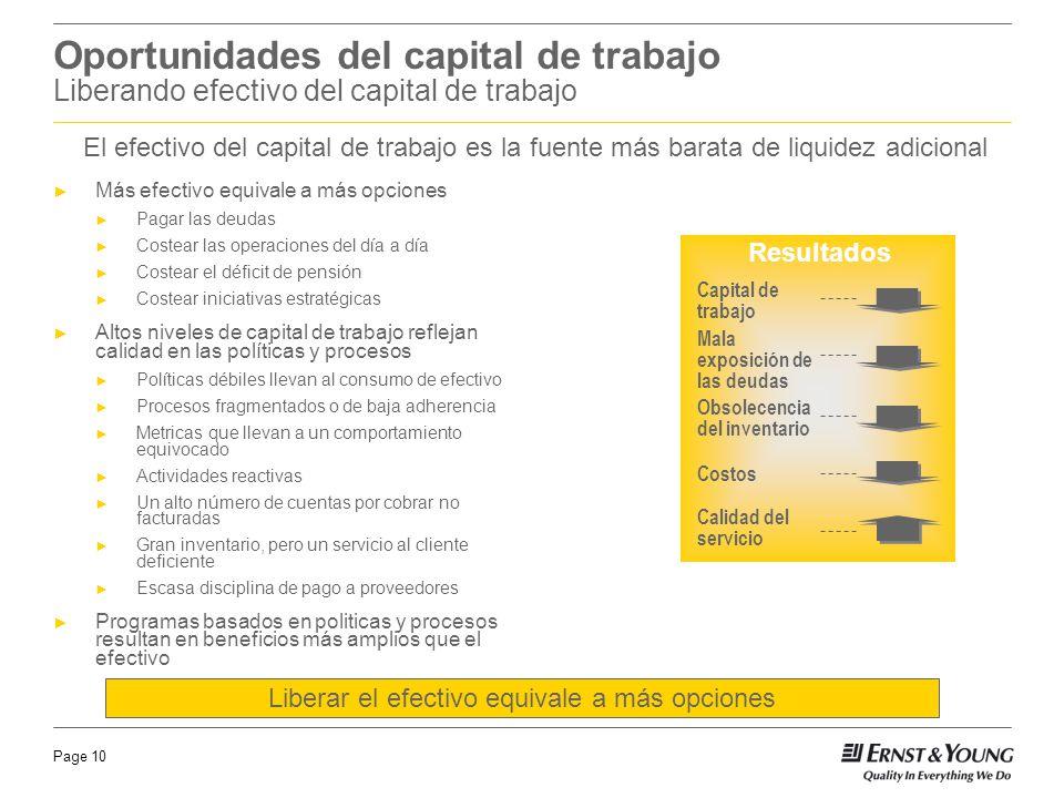 Page 10 Oportunidades del capital de trabajo Liberando efectivo del capital de trabajo Más efectivo equivale a más opciones Pagar las deudas Costear l