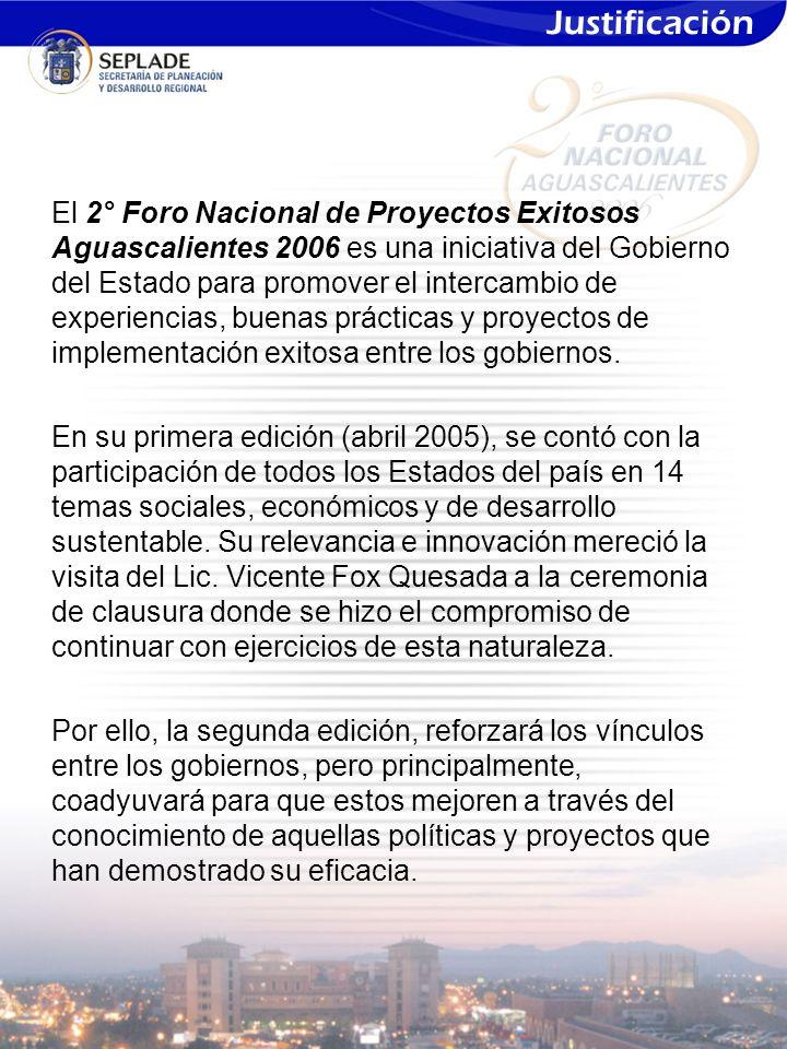 El 2° Foro Nacional de Proyectos Exitosos Aguascalientes 2006 es una iniciativa del Gobierno del Estado para promover el intercambio de experiencias, buenas prácticas y proyectos de implementación exitosa entre los gobiernos.