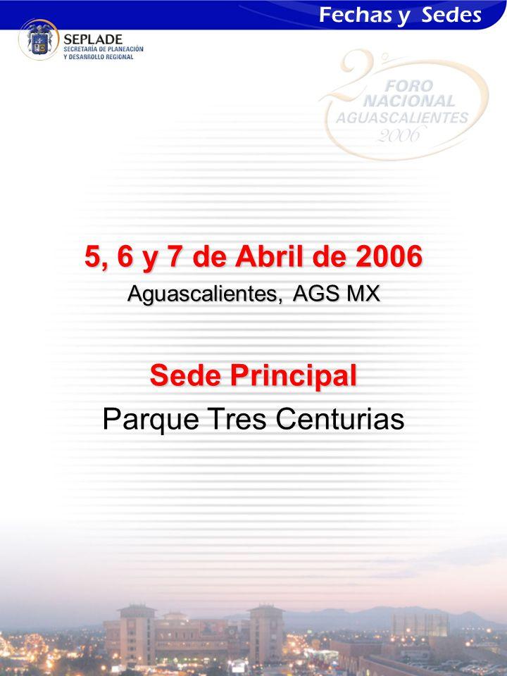 5, 6 y 7 de Abril de 2006 Aguascalientes, AGS MX Sede Principal Parque Tres Centurias Fechas y Sedes