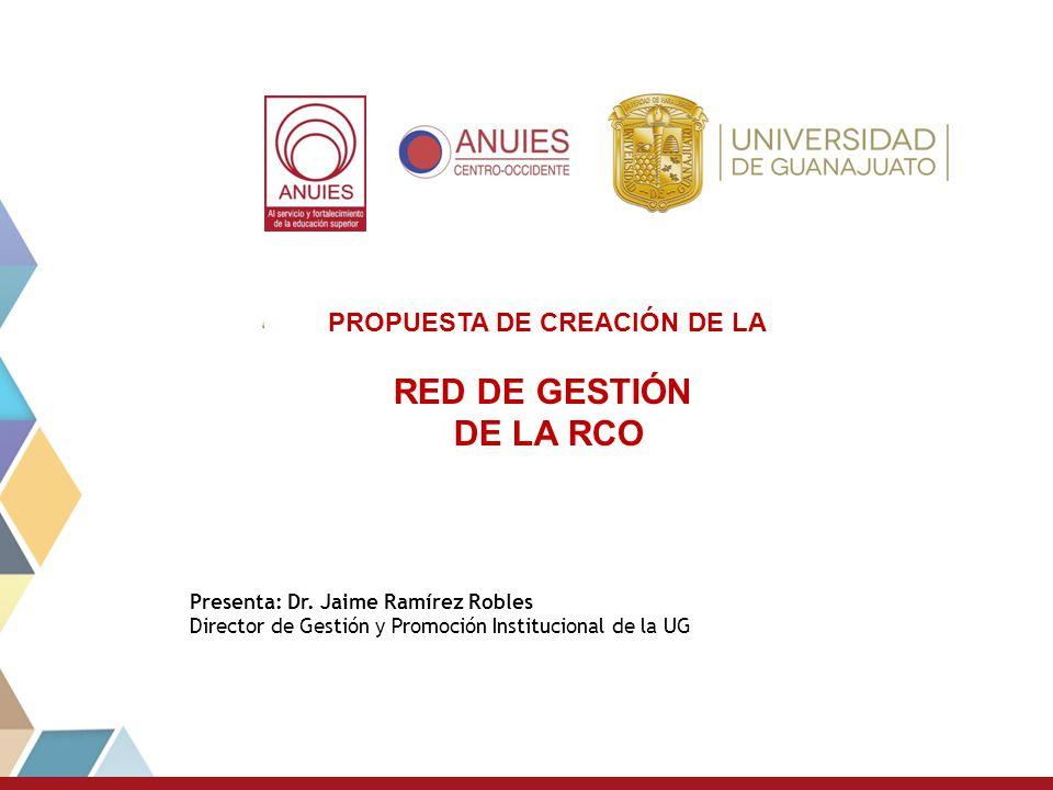 PROPUESTA DE CREACIÒN DE LA RED DE GESTIÓN REGION CENTRO OCCIDENTE DE ANUIES Presenta: Dr. Jaime Ramírez Robles Director de Gestión y Promoción Instit