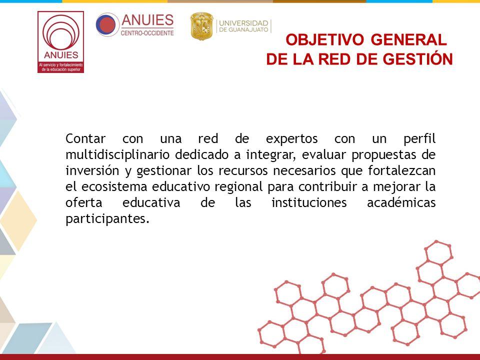 OBJETIVO GENERAL DE LA RED DE GESTIÓN Contar con una red de expertos con un perfil multidisciplinario dedicado a integrar, evaluar propuestas de inver