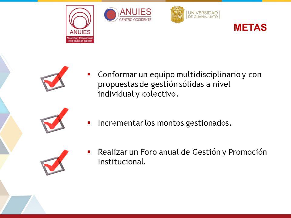 METAS Conformar un equipo multidisciplinario y con propuestas de gestión sólidas a nivel individual y colectivo. Incrementar los montos gestionados. R