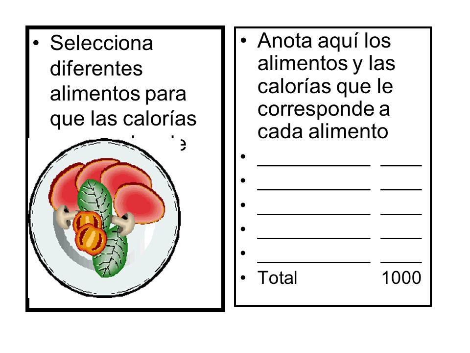 Selecciona diferentes alimentos para que las calorías no excedan de 1000. Anota aquí los alimentos y las calorías que le corresponde a cada alimento _