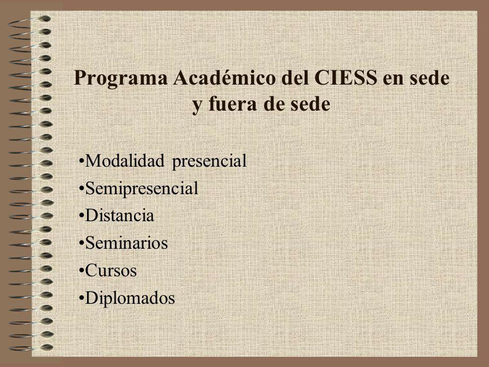 Programa Académico del CIESS en sede y fuera de sede Modalidad presencial Semipresencial Distancia Seminarios Cursos Diplomados