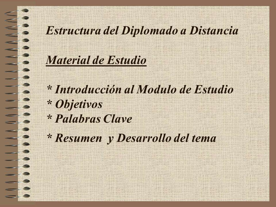 Estructura del Diplomado a Distancia Material de Estudio * Introducción al Modulo de Estudio * Objetivos * Palabras Clave * Resumen y Desarrollo del t