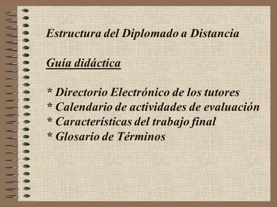 Estructura del Diplomado a Distancia Guía didáctica * Directorio Electrónico de los tutores * Calendario de actividades de evaluación * Característica