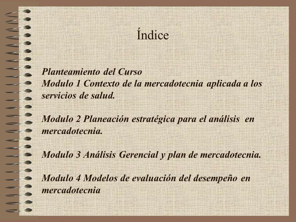 Índice Planteamiento del Curso Modulo 1 Contexto de la mercadotecnia aplicada a los servicios de salud. Modulo 2 Planeación estratégica para el anális