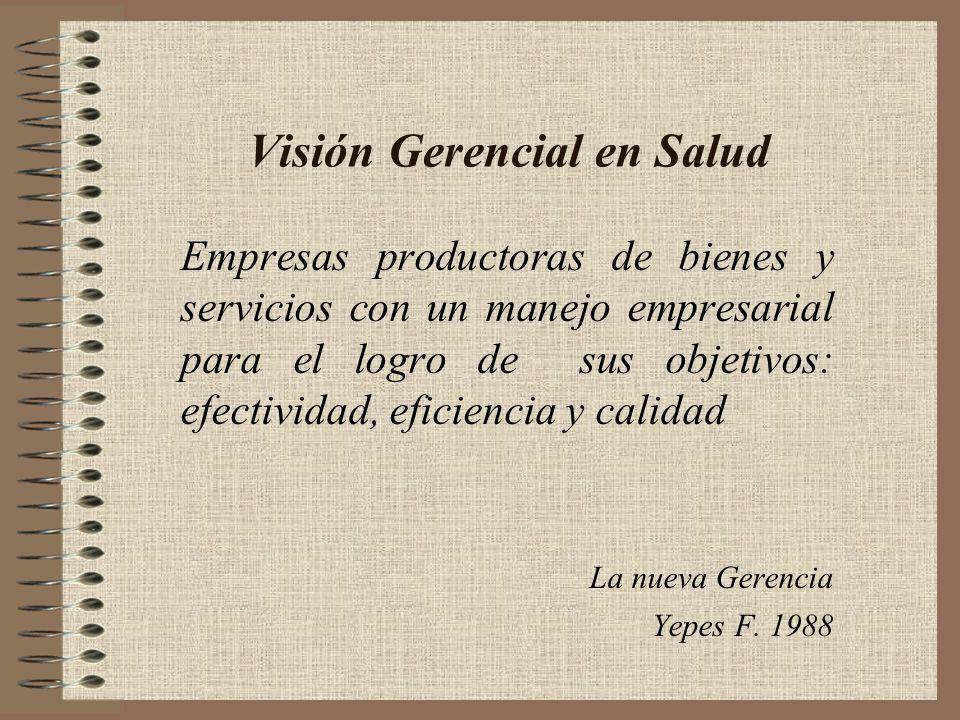Visión Gerencial en Salud Empresas productoras de bienes y servicios con un manejo empresarial para el logro de sus objetivos: efectividad, eficiencia y calidad La nueva Gerencia Yepes F.