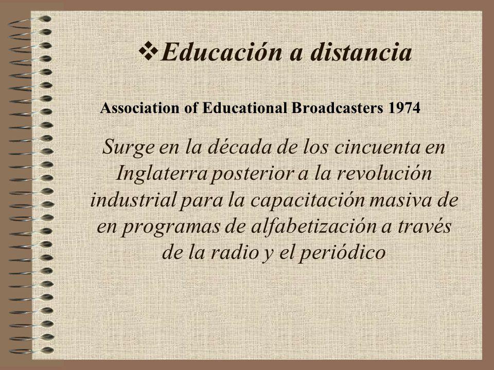 Educación a distancia Surge en la década de los cincuenta en Inglaterra posterior a la revolución industrial para la capacitación masiva de en program