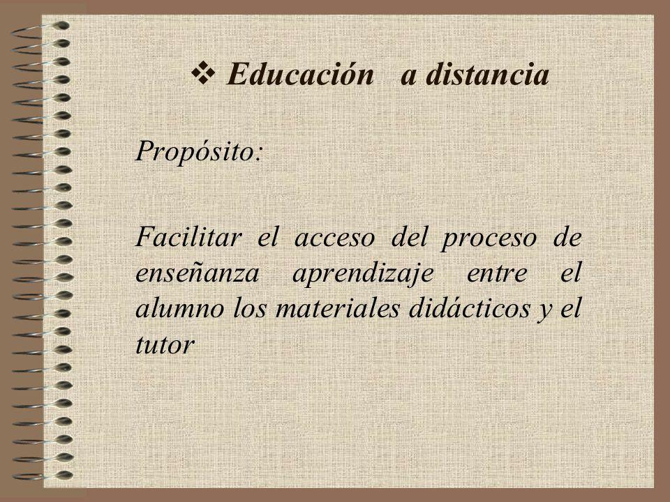 Educación a distancia Propósito: Facilitar el acceso del proceso de enseñanza aprendizaje entre el alumno los materiales didácticos y el tutor