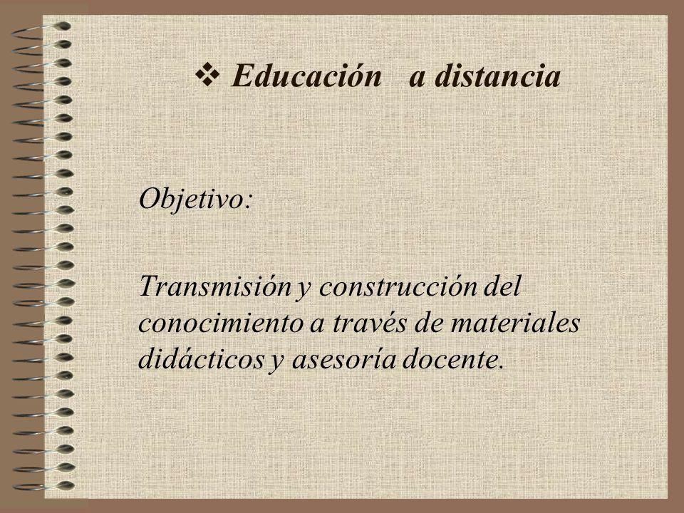 Educación a distancia Objetivo: Transmisión y construcción del conocimiento a través de materiales didácticos y asesoría docente.