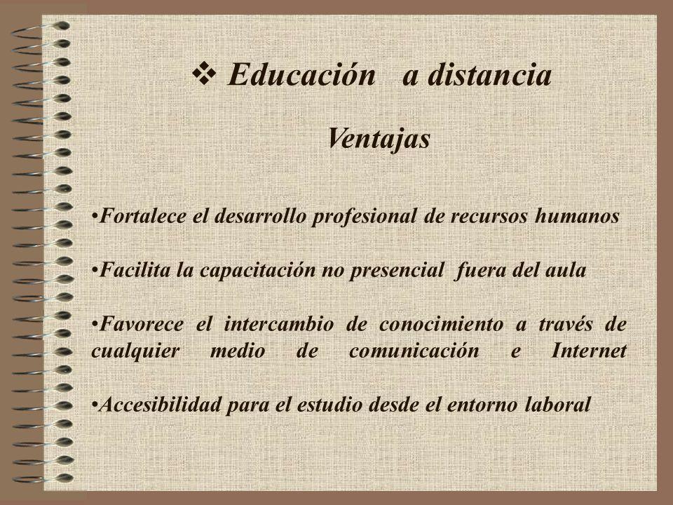 Educación a distancia Fortalece el desarrollo profesional de recursos humanos Facilita la capacitación no presencial fuera del aula Favorece el interc