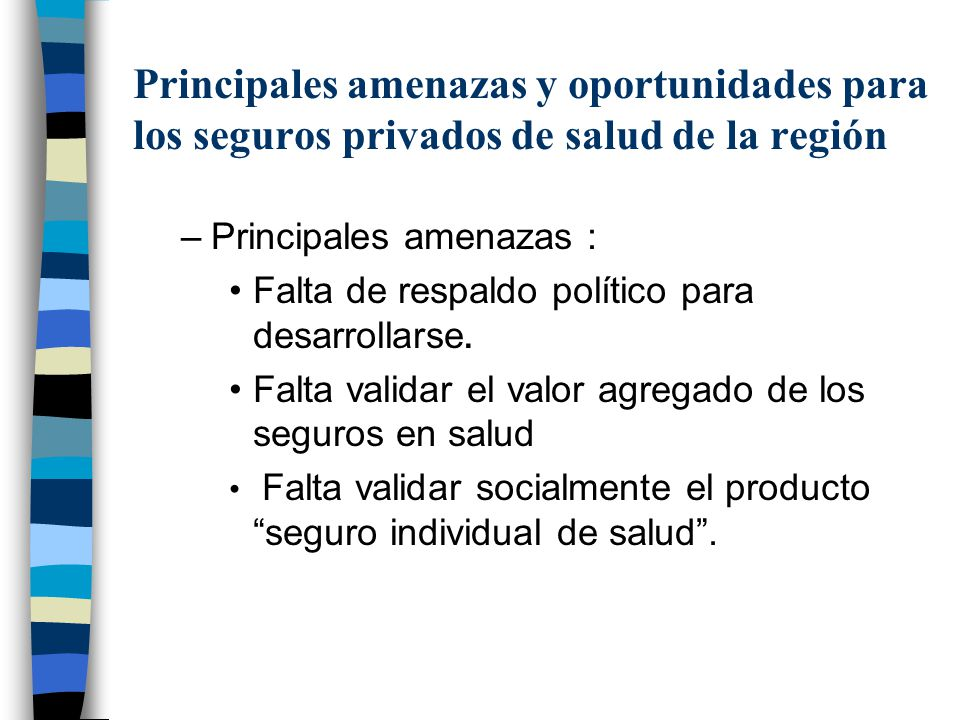 Principales amenazas y oportunidades para los seguros privados de salud de la región –Principales amenazas : Falta de respaldo político para desarroll