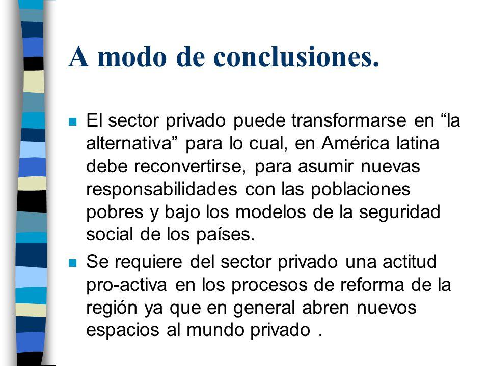 A modo de conclusiones. n El sector privado puede transformarse en la alternativa para lo cual, en América latina debe reconvertirse, para asumir nuev