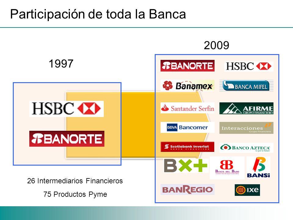 Participación de toda la Banca 1997 2009 26 Intermediarios Financieros 75 Productos Pyme