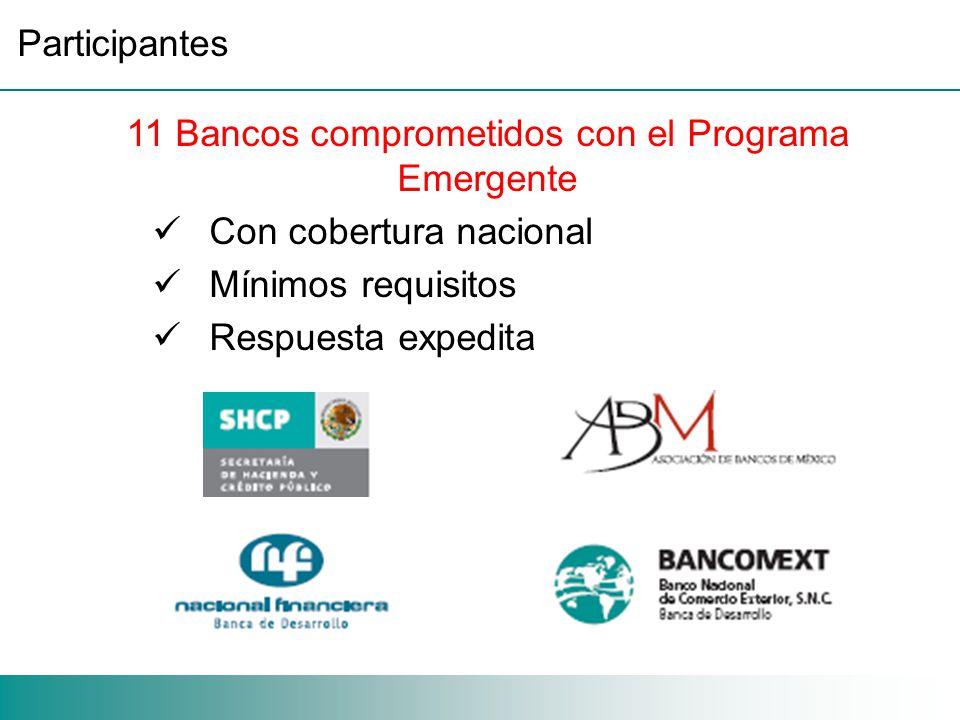 11 Bancos comprometidos con el Programa Emergente Con cobertura nacional Mínimos requisitos Respuesta expedita Participantes