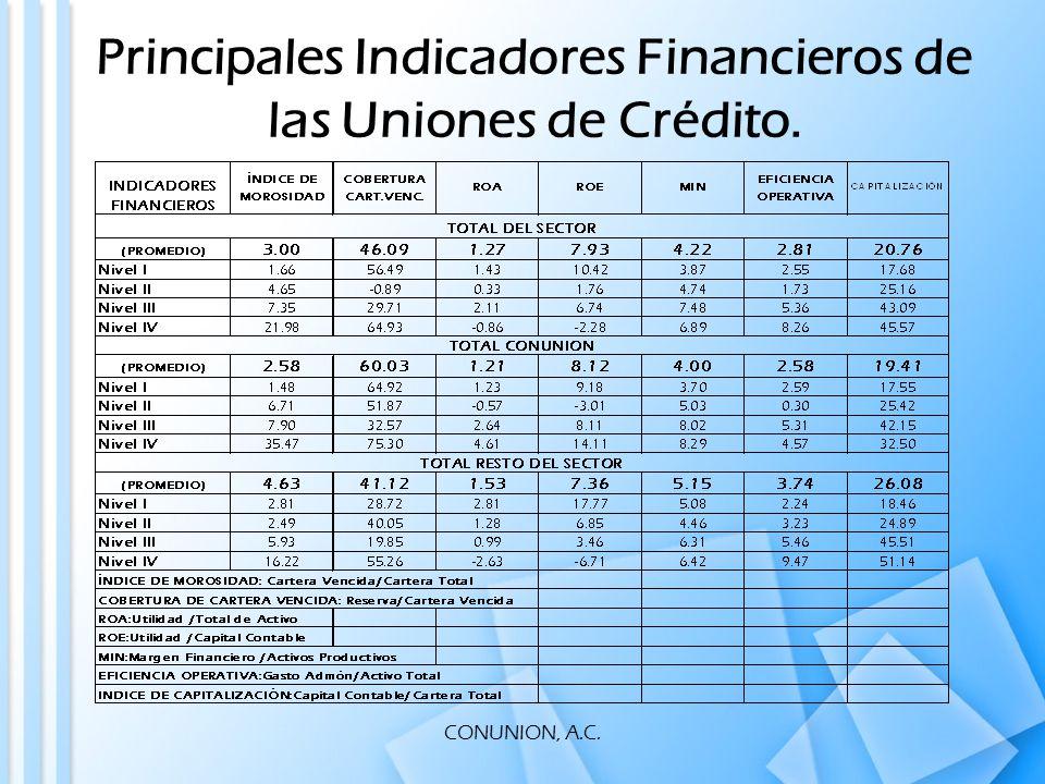 CONUNION, A.C. Principales Indicadores Financieros de las Uniones de Crédito.