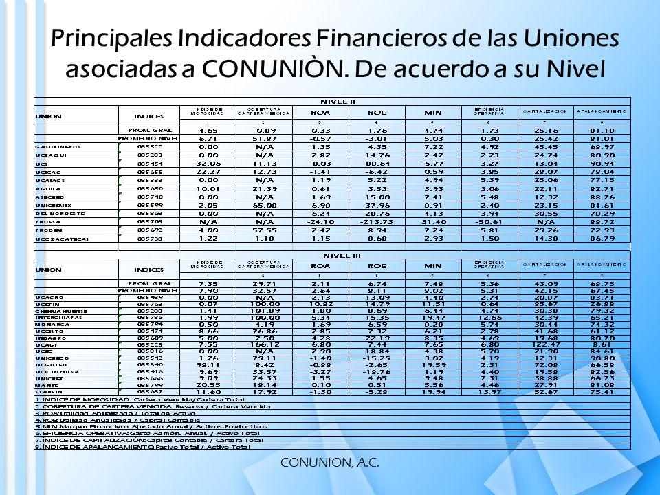 CONUNION, A.C. Principales Indicadores Financieros de las Uniones asociadas a CONUNIÒN.