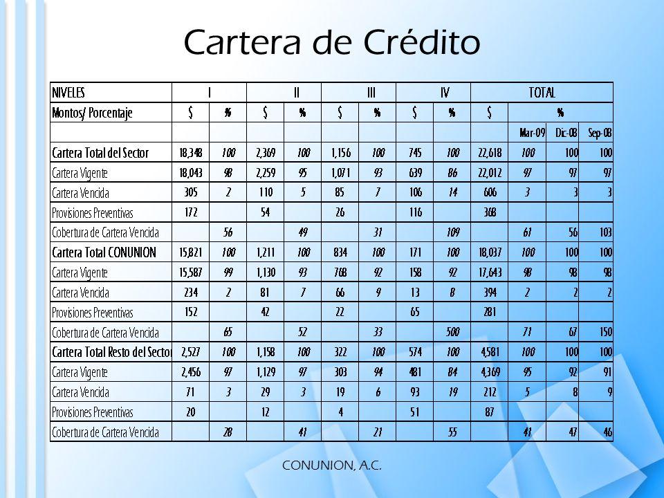 CONUNION, A.C. Cartera de Crédito
