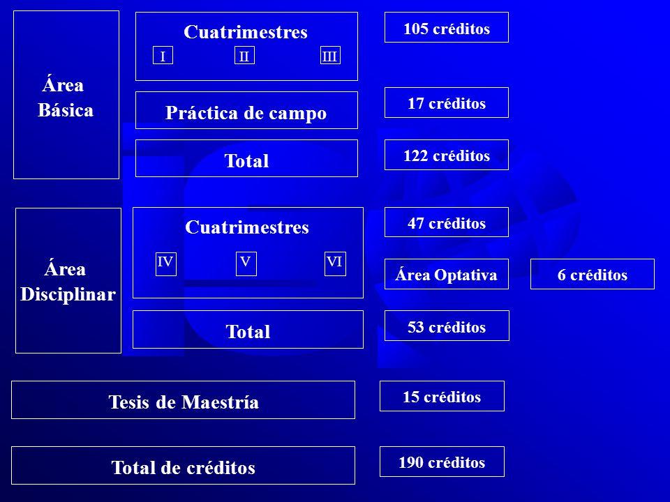 Área Básica Cuatrimestres IIIIII Práctica de campo Total 105 créditos 17 créditos 122 créditos Área Disciplinar Total Cuatrimestres IVVVI 47 créditos