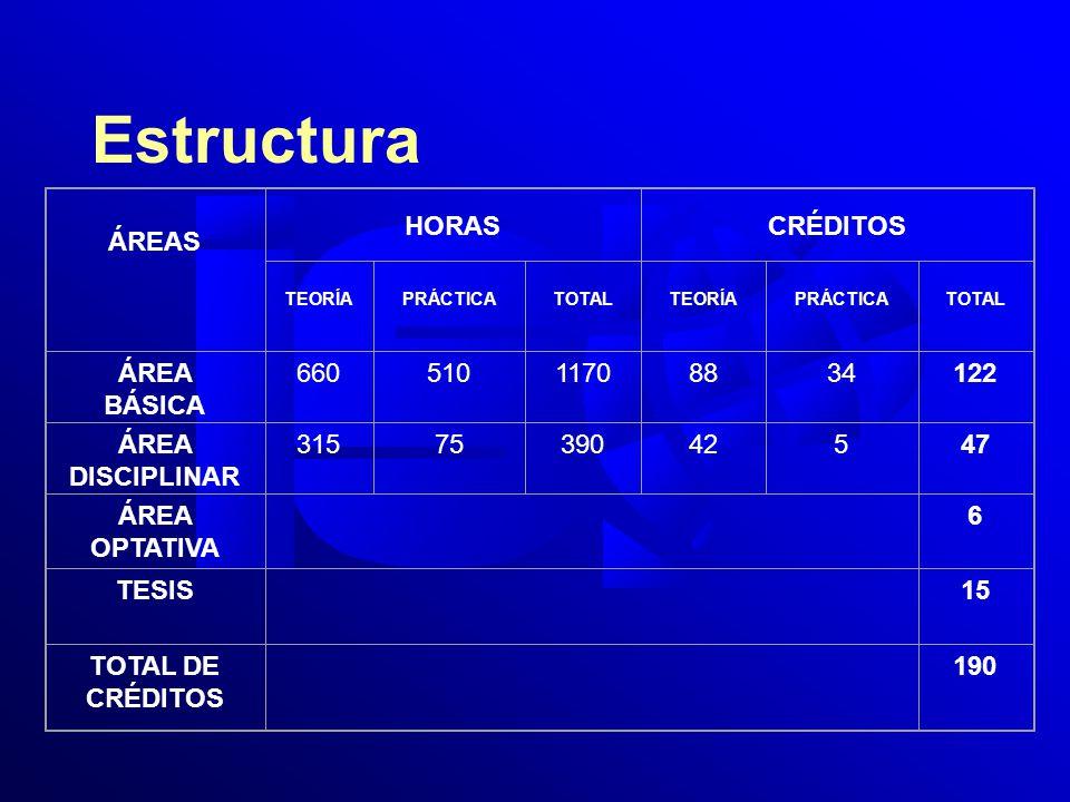 Estructura ÁREAS HORASCRÉDITOS TEORÍAPRÁCTICATOTALTEORÍAPRÁCTICATOTAL ÁREA BÁSICA 66051011708834122 ÁREA DISCIPLINAR 3157539042547 ÁREA OPTATIVA 6 TESIS 15 TOTAL DE CRÉDITOS 190