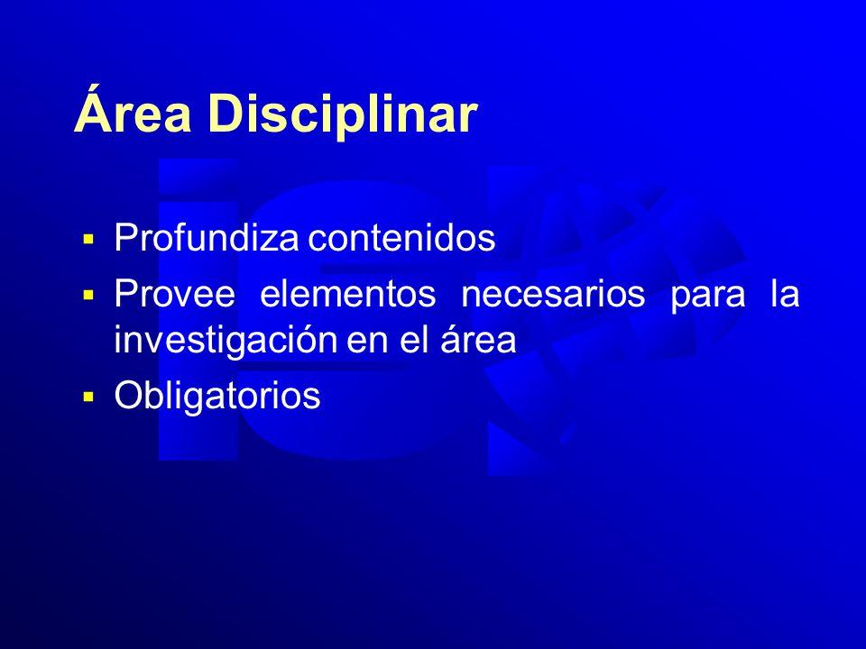 Área Disciplinar Profundiza contenidos Provee elementos necesarios para la investigación en el área Obligatorios