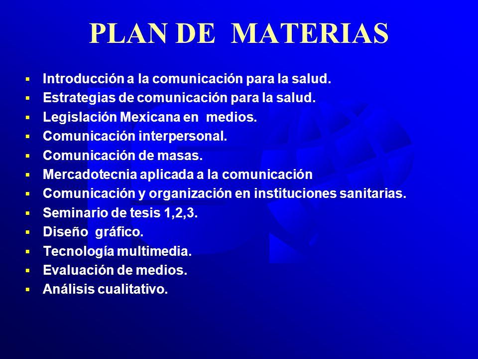 PLAN DE MATERIAS Introducción a la comunicación para la salud. Estrategias de comunicación para la salud. Legislación Mexicana en medios. Comunicación