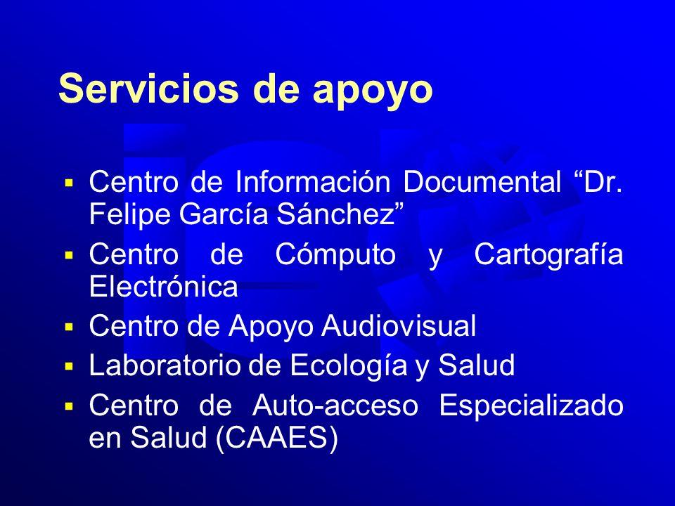 Servicios de apoyo Centro de Información Documental Dr. Felipe García Sánchez Centro de Cómputo y Cartografía Electrónica Centro de Apoyo Audiovisual