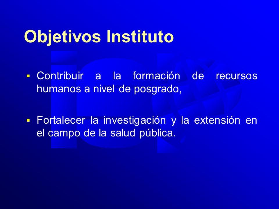 Objetivos Instituto Contribuir a la formación de recursos humanos a nivel de posgrado, Fortalecer la investigación y la extensión en el campo de la salud pública.