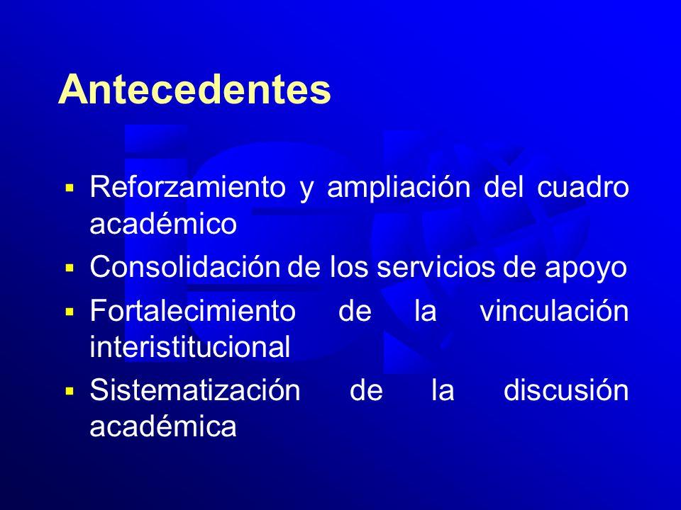 Antecedentes Reforzamiento y ampliación del cuadro académico Consolidación de los servicios de apoyo Fortalecimiento de la vinculación interistitucional Sistematización de la discusión académica
