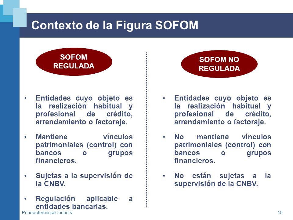 PricewaterhouseCoopers19 Contexto de la Figura SOFOM SOFOM REGULADA SOFOM NO REGULADA Entidades cuyo objeto es la realización habitual y profesional d