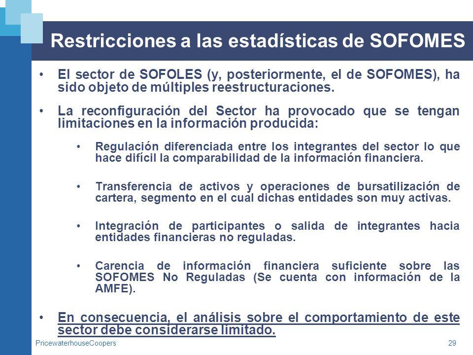 PricewaterhouseCoopers29 Restricciones a las estadísticas de SOFOMES El sector de SOFOLES (y, posteriormente, el de SOFOMES), ha sido objeto de múltip