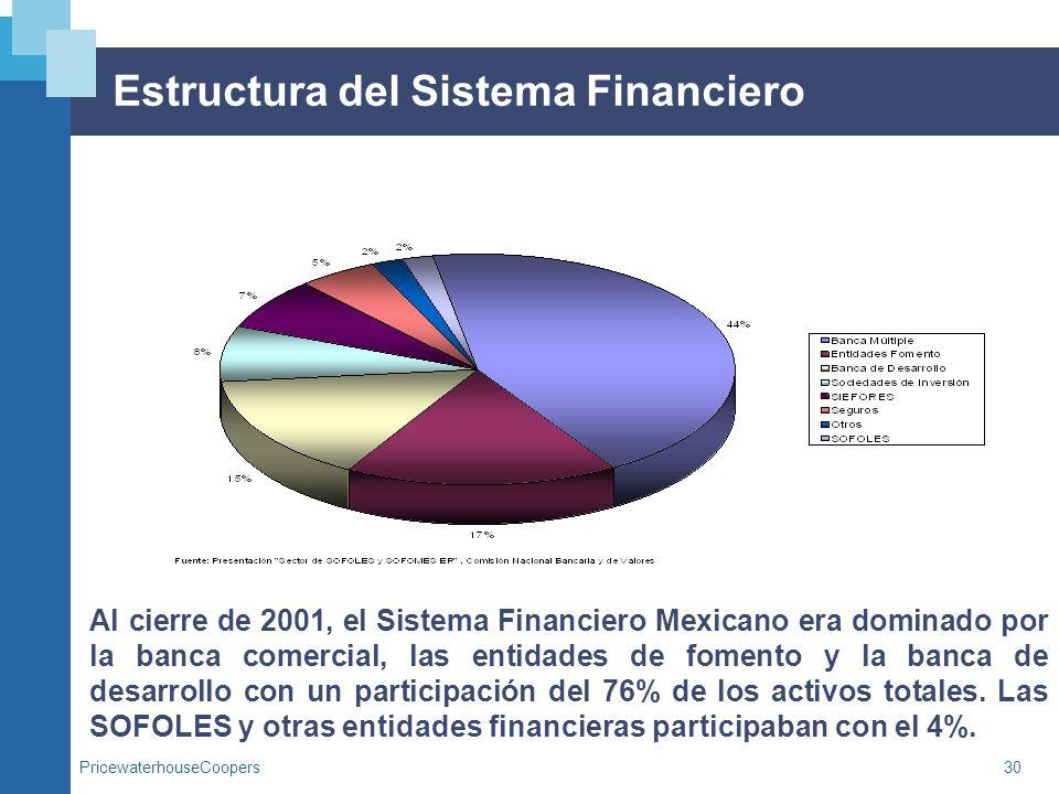 PricewaterhouseCoopers30 Estructura del Sistema Financiero Al cierre de 2001, el Sistema Financiero Mexicano era dominado por la banca comercial, las
