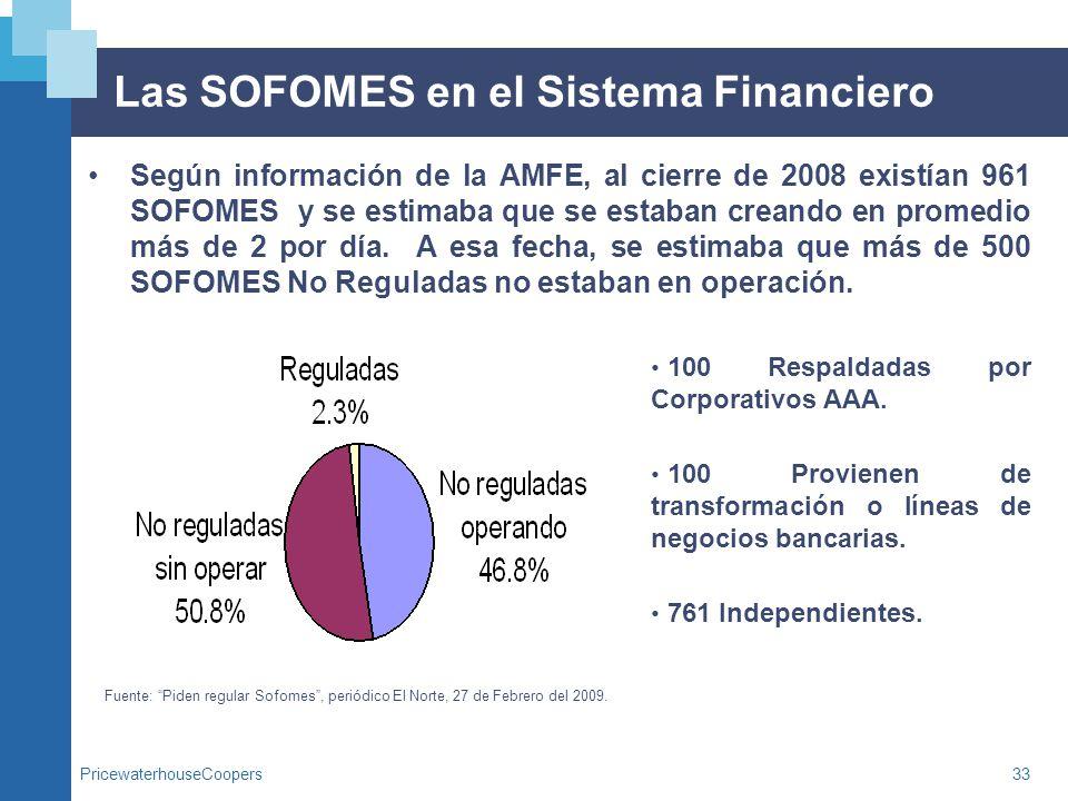 PricewaterhouseCoopers33 Las SOFOMES en el Sistema Financiero Según información de la AMFE, al cierre de 2008 existían 961 SOFOMES y se estimaba que s