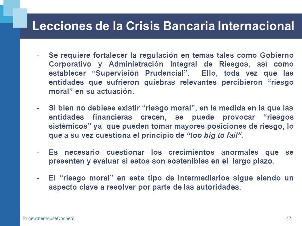 PricewaterhouseCoopers47 Lecciones de la Crisis Bancaria Internacional -Se requiere fortalecer la regulación en temas tales como Gobierno Corporativo