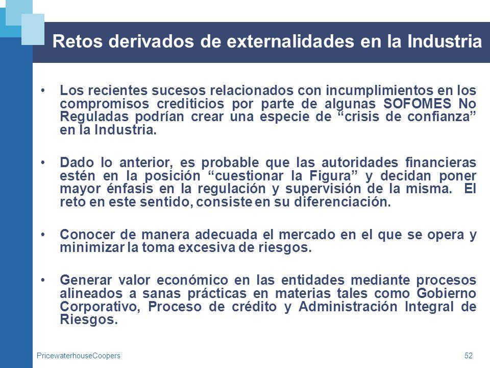 PricewaterhouseCoopers52 Retos derivados de externalidades en la Industria Los recientes sucesos relacionados con incumplimientos en los compromisos c