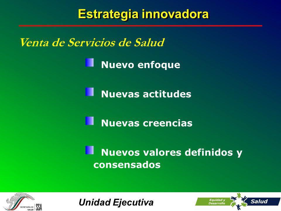 Unidad Ejecutiva Estrategia innovadora Venta de Servicios de Salud Nuevo enfoque Nuevas actitudes Nuevas creencias Nuevos valores definidos y consensa