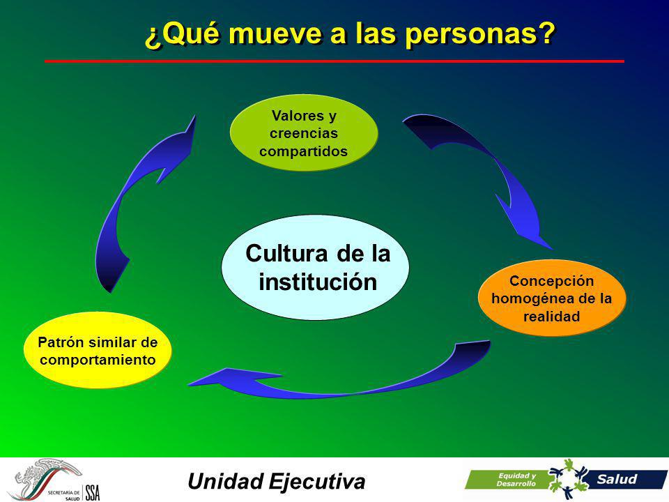 Unidad Ejecutiva Cultura de la institución Concepción homogénea de la realidad Valores y creencias compartidos Patrón similar de comportamiento ¿Qué m