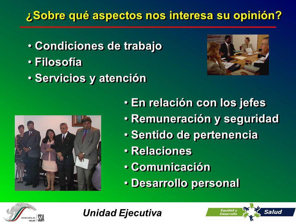 Unidad Ejecutiva En relación con los jefes Remuneración y seguridad Sentido de pertenencia Relaciones Comunicación Desarrollo personal Condiciones de