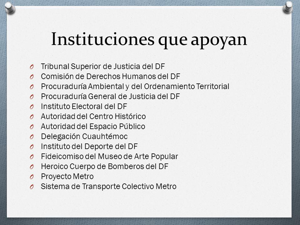 Instituciones que apoyan O Tribunal Superior de Justicia del DF O Comisión de Derechos Humanos del DF O Procuraduría Ambiental y del Ordenamiento Terr