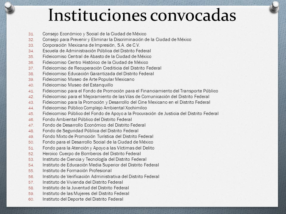 Instituciones convocadas 31. Consejo Económico y Social de la Ciudad de México 32. Consejo para Prevenir y Eliminar la Discriminación de la Ciudad de