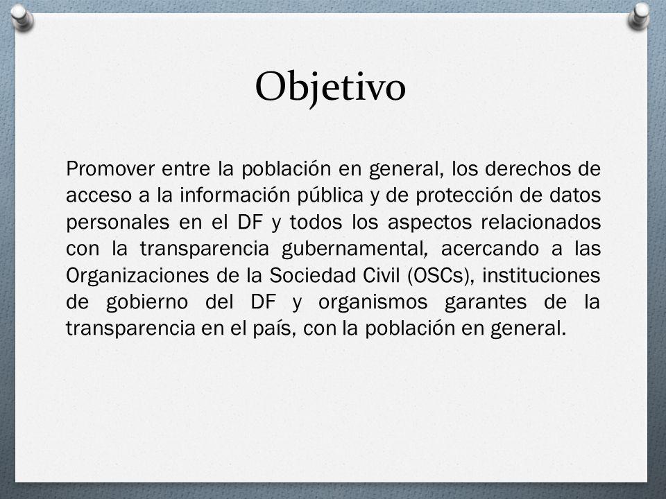 Objetivo Promover entre la población en general, los derechos de acceso a la información pública y de protección de datos personales en el DF y todos