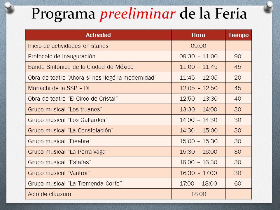 Programa preeliminar de la Feria ActividadHoraTiempo Inicio de actividades en stands09:00 Protocolo de inauguración09:30 – 11:0090 Banda Sinfónica de
