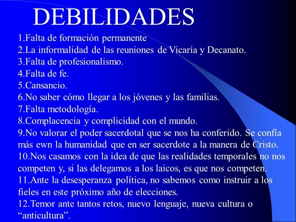 DEBILIDADES 1.Falta de formación permanente 2.La informalidad de las reuniones de Vicaría y Decanato.