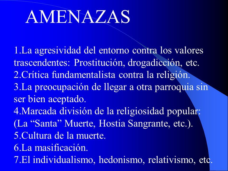 AMENAZAS 1.La agresividad del entorno contra los valores trascendentes: Prostitución, drogadicción, etc. 2.Crítica fundamentalista contra la religión.