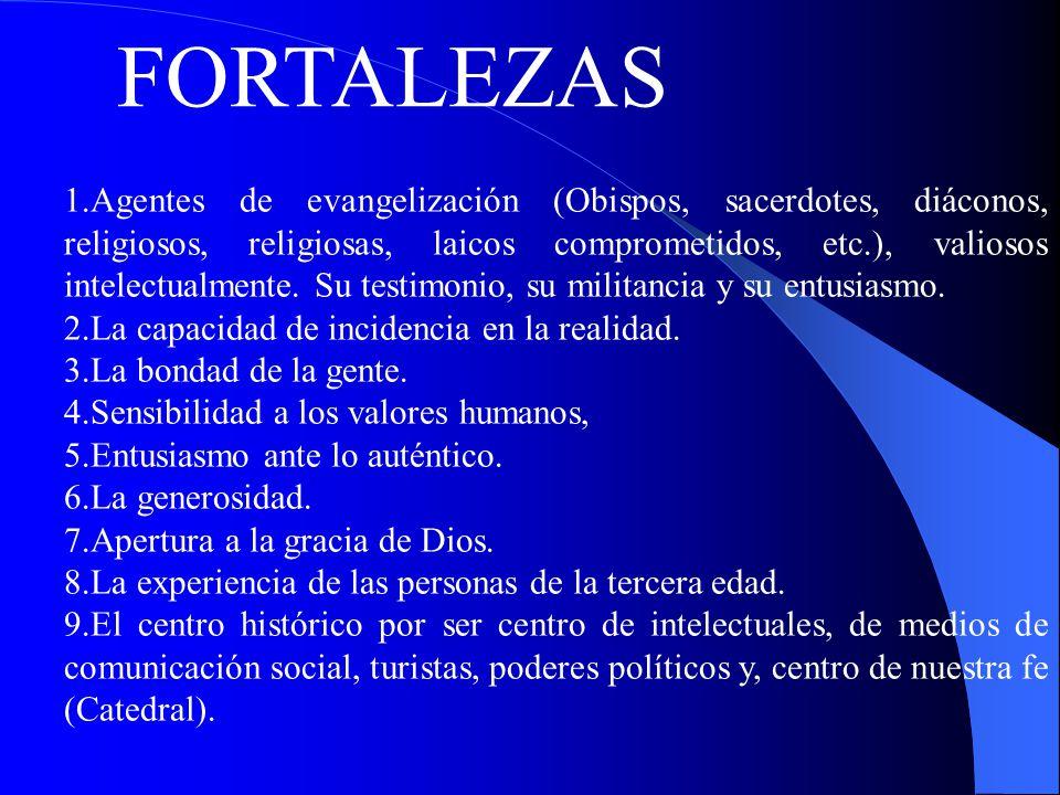 FORTALEZAS 1.Agentes de evangelización (Obispos, sacerdotes, diáconos, religiosos, religiosas, laicos comprometidos, etc.), valiosos intelectualmente.