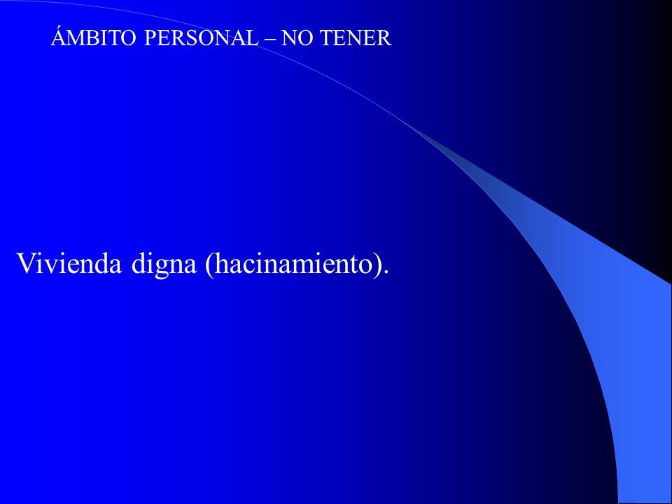 ÁMBITO PERSONAL – NO TENER Vivienda digna (hacinamiento).